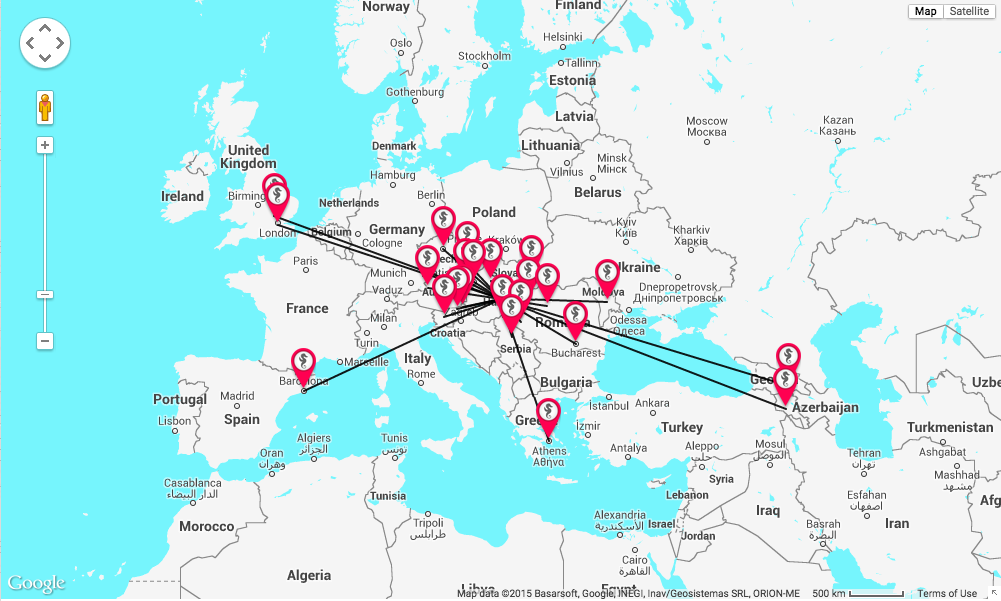 Fictional offers on the interactive map of abortourism.com © Abortourism