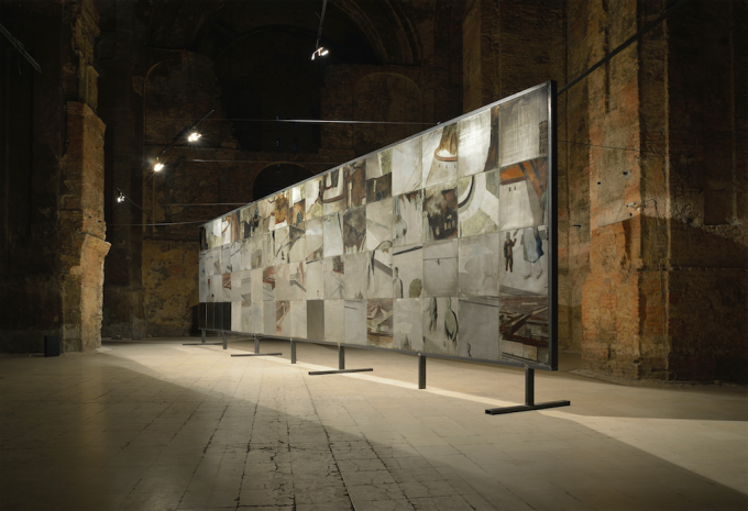Ferenc Gróf: Without Index. Aurél Bernáth's panoramic panel painting of Budapest. Front side. The (former) Church Space of the Kiscell Museum, Budapest, 2016. Photo: Ágnes Bakos, Bence Tihanyi