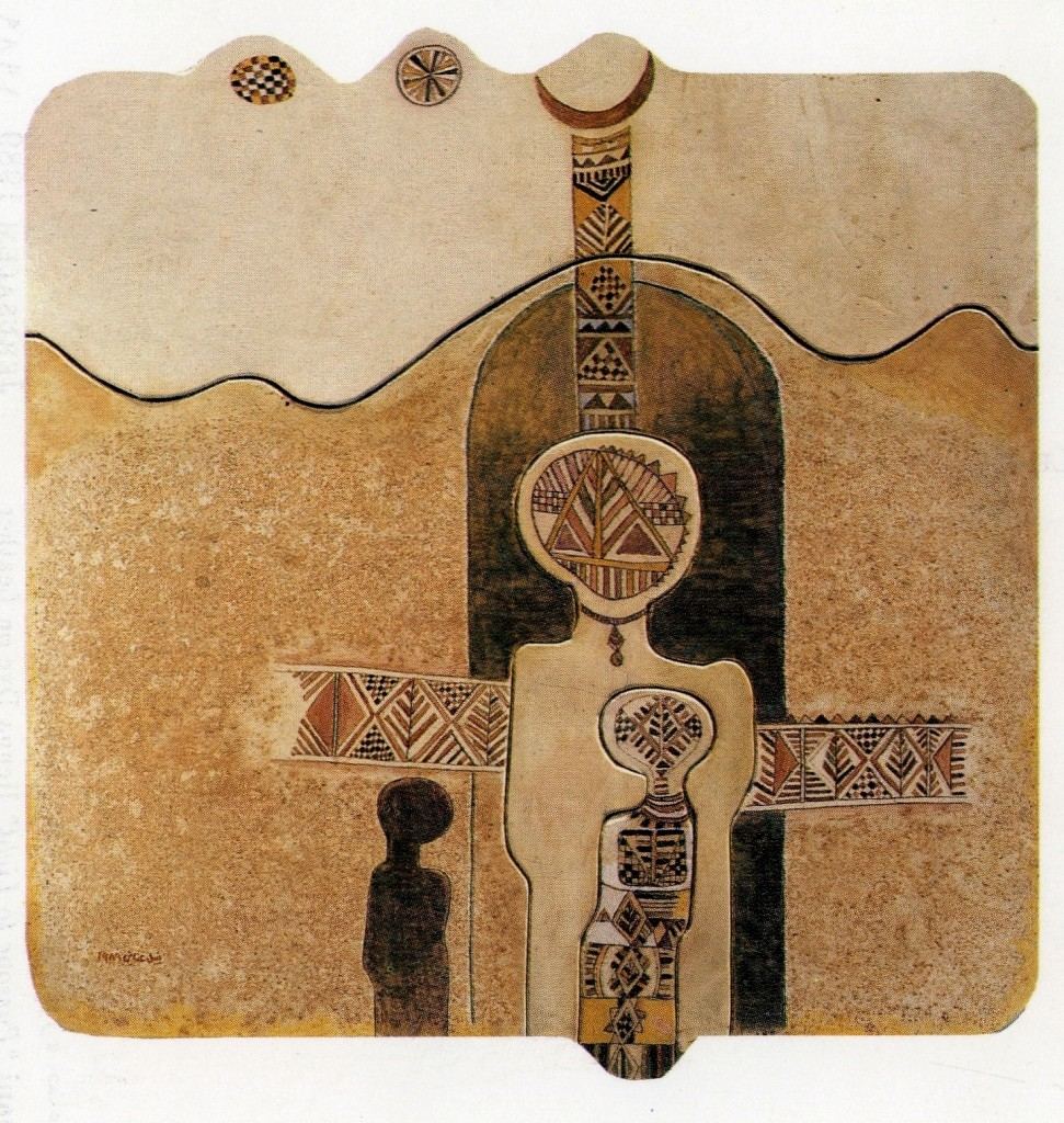Nabil Anani, Passage to Light_1989_leather and henna on wood_80 x 80cm_courtesy Zawyeh Gallery