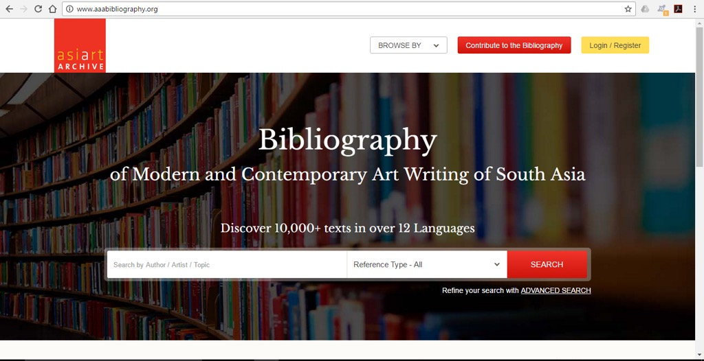 Bibliography of Modern and Contemporary Art Writing of South Asia website.